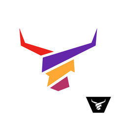 bull head colorful logo with long horns vector image