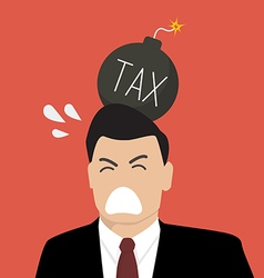 Businessman with tax bomb on his head vector