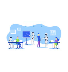 cartoon color characters people and robot office vector image