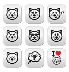 cat buttons set - happy sad angry isolated on wh vector image