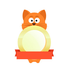 cat on emblem with copy space vector image