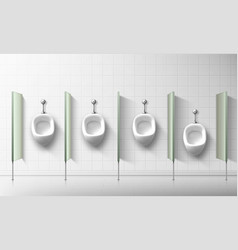 Ceramic urinals for men and boys in public toilet vector
