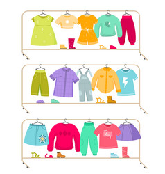 Clothes racks wardrobe stands with kids apparel vector