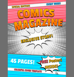 Colorful comics magazine template vector