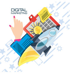 colorful hand and icons of digital marketing vector image