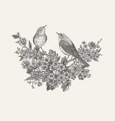 composition with flowering trees and birds vector image