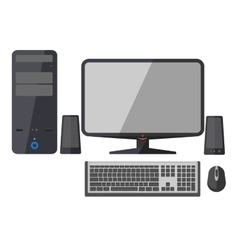 Computer monitor keyboard and mouse vector image