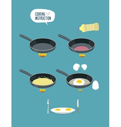 Cooking instruction manual cooking scrambled eggs vector