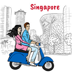 Couple on orchard road in singapore vector