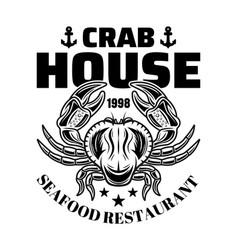 crab house restaurant menu black emblem vector image
