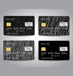 Credit cards set with black scratched vector