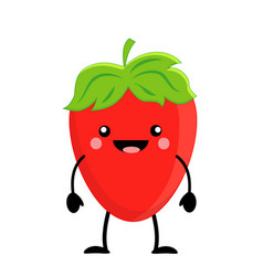 cute cartoon strawberry kawaii strawberry vector image