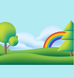 cute scape with rainbow trees and green meadow vector image