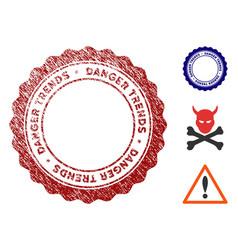 danger trends watermark with grunge effect vector image