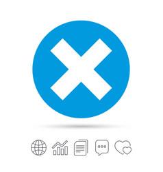 Delete sign icon remove button vector
