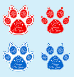 dog paw 2018 of new year vector image
