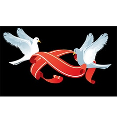 Doves holding ribbons design vector