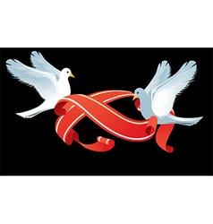 Doves Holding Ribbons Design vector