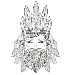 entangle portrait of man with mustache beard war vector image