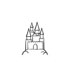 Fairytale castle hand drawn sketch icon vector