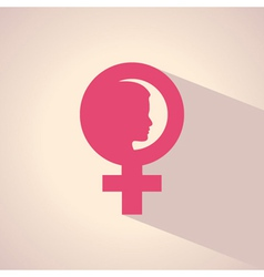 female face and symbol vector image