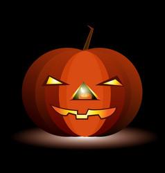 Festive luminous pumpkin for halloween on a black vector