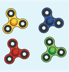 Fidget spinner colorful set vector