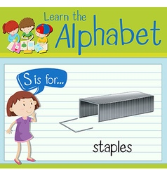 Flashcard letter S is for staples vector
