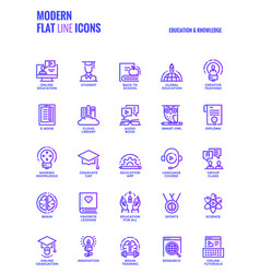 Flat line gradient icons design-education and vector