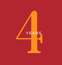 Four years symbol fourth birthday emblem vector