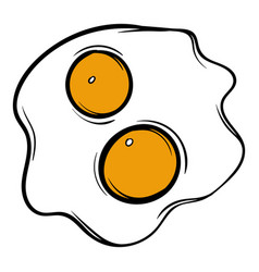 fried eggs icon cartoon vector image