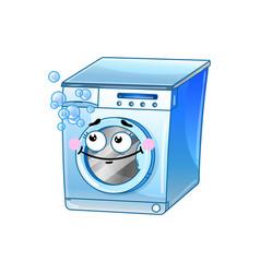 Funny washing machine cartoon character vector