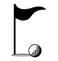 Golf ball and flag graphic vector