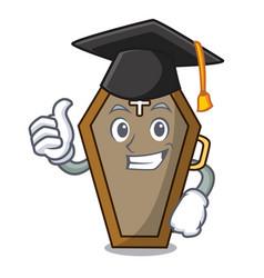 Graduation coffin character cartoon style vector