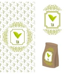 Green tea logo branding concept vector image