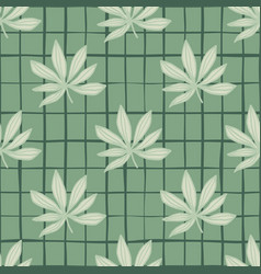 grey simple cannabis ornament seamless pattern vector image