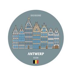 Guild buildings in antwerp belgium vector