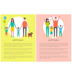Happy family greets everyone hold hands up poster vector