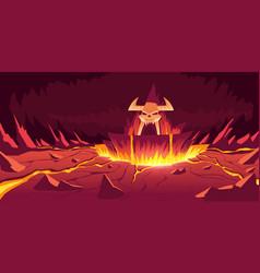 Hell landscape infernal stone cave cartoon vector