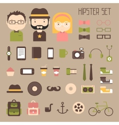 Hipster colorful style elements and characters vector