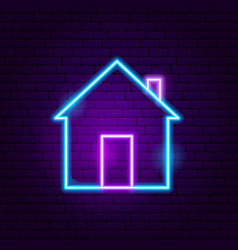 home neon sign vector image