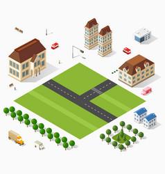 Isometric retro set 3d urban module city vector