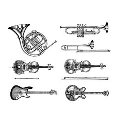 jazz classical wind and stringed instruments set vector image