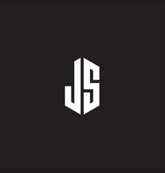 Js logo monogram with hexagon shape style design vector