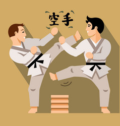 Karate fight flat style colorful cartoon vector