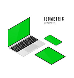 laptop and mobile phone tablet isometric view vector image