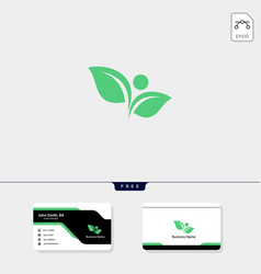 Leaf human concept logo template free your vector