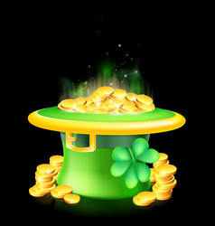 leprechaun hat full of gold vector image