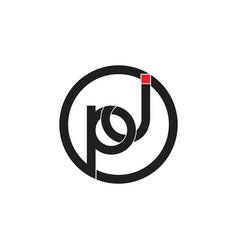 Letters pj simple linked geometric logo vector