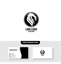 Lion head logo design template free business card vector